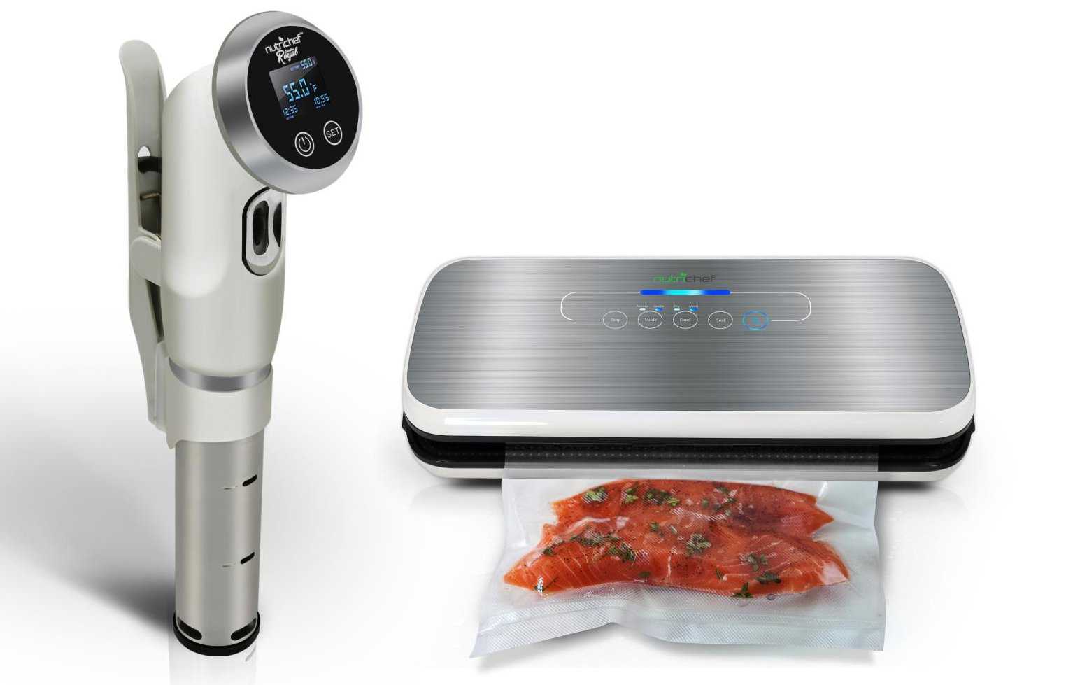 Nutrichef Sous Vide Immersion Circulator Cooker Thermal-Durable Stainless Steel Stick Strong Handle & Temperature Control W/ Vacuum Sealer | Automatic Vacuum Air Sealing System For Food Preservation