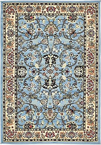 Feet Covent Garden Persian Traditional Design Rug, Light Blue (Machine Made Persian Garden)