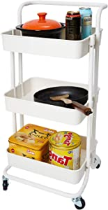 HOUSE DAY 3-Tier Rolling Utility Cart Storage Organization Shelves with Handle and Lockable Wheels Multifunction Storage Trolley Service Cart Easy Assembly for Kitchen, Bathroom, Office (White)