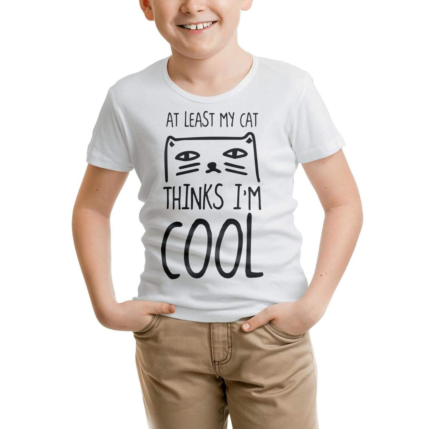 Kids T-Shirt Cute Loose at Least My Cat Loves Me t Shirt 100/% Cotton Knit Comfortable Gift for Childrens T-Shirt