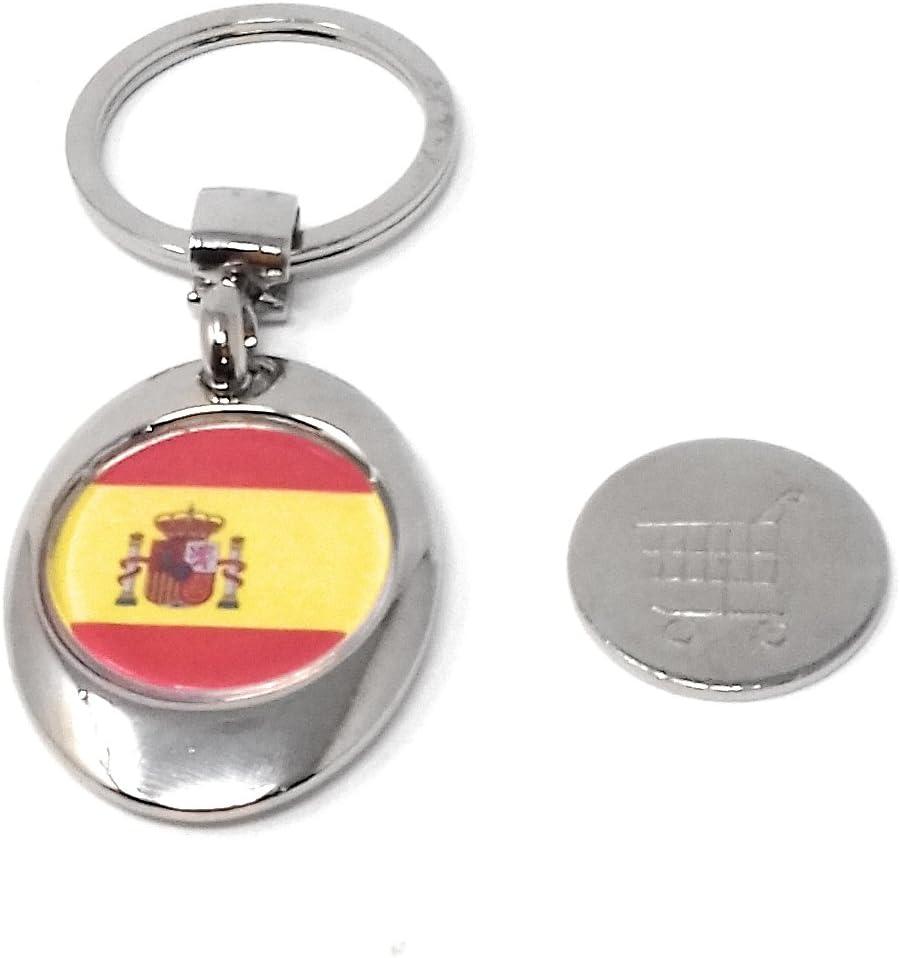 Llavero Con la Bandera de España, Moneda Sujeta por Imán para carro Super 825.: Amazon.es: Equipaje
