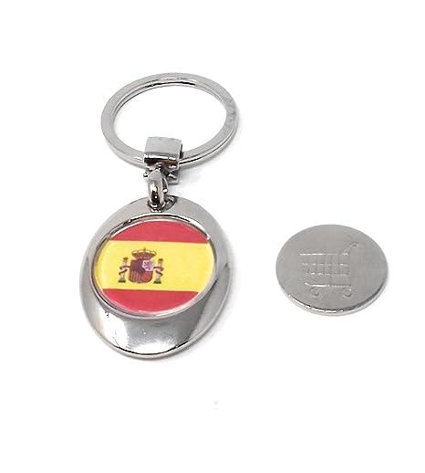 Llavero Con la Bandera de España, Moneda Sujeta por Imán para carro Super 825.