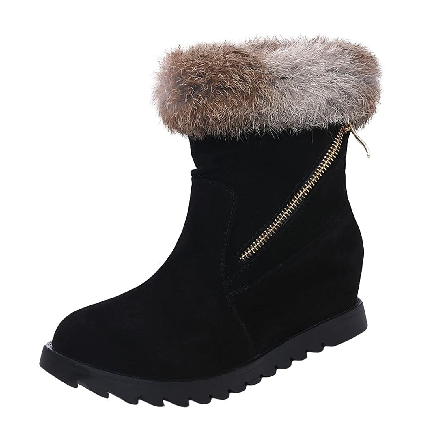 Show Shine Women's Casual Zippers Hidden Heel Platform Snow Boots