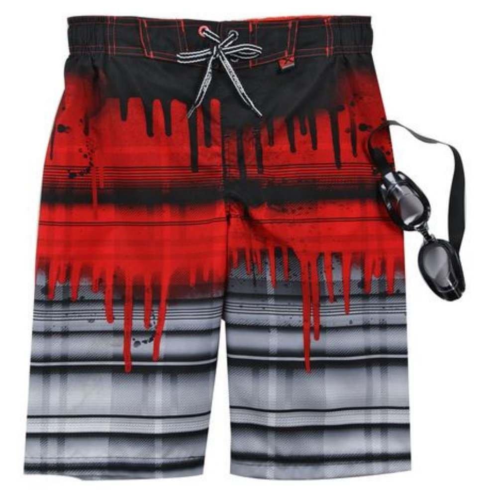 ZeroXposur Boys Red /& Black Stripe Swim Trunks Board Shorts /& Goggles Set