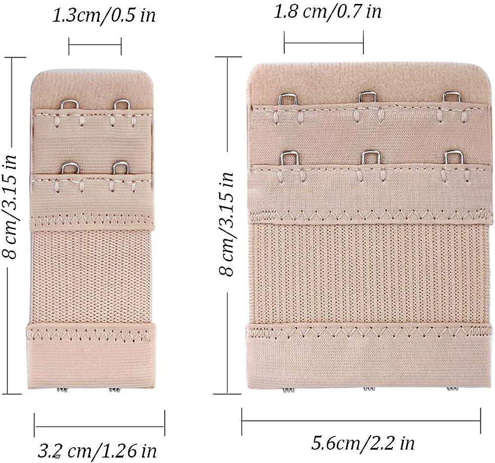 Schwarz,Wei/ß,Hautfarbe Wskderliner BH Verl/ängerung Bra Extender Erweiterung Strap Elastisch Band Weich Gurt 3 Haken und 2 Haken Packung mit 12