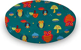 product image for SheetWorld 100% Cotton Flannel Round Crib Sheet, Owls Green, 42 x 42, Made in USA