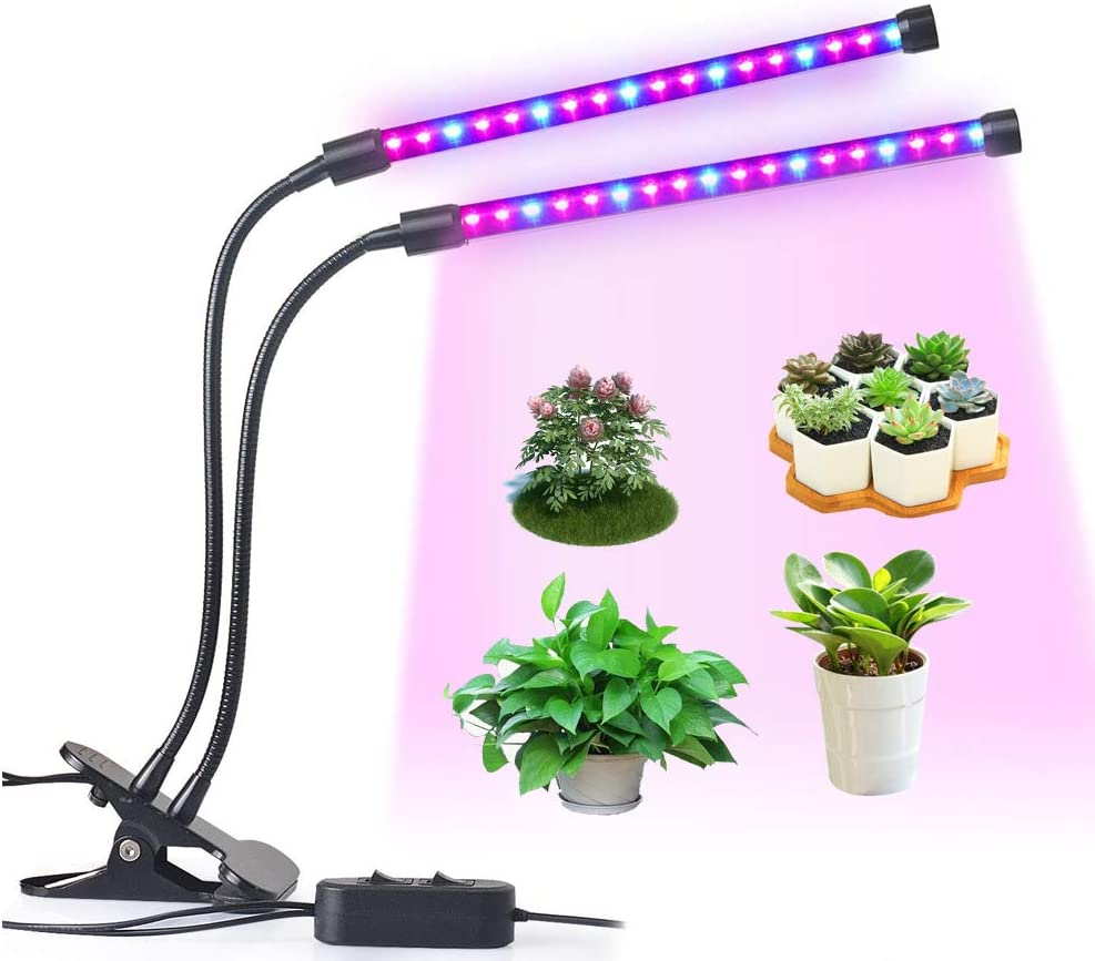 LED Grow Light, LEDMEI 18W Dual Head Plant Grow Light Dimmable 2 Levels Grow Lights Desk Clip with Adjustable 360 Goose Neck for Indoor Hydroponics Greenhouse Garden Home Office Plants