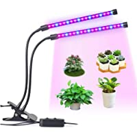 LED Grow Light, LEDMEI 18W Dual Head Plant Grow LightDimmable 2 Levels Grow Lights Desk Clip with Adjustable 360° Goose Neck for Indoor Hydroponics Greenhouse Garden Home Office Plants