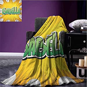 JKTOWN Isabella Breathable Blanket Blanket Comfort Caring Gift Blanket 60x80 inch American Birth Name on Retro Style Fun Cartoon Backdrop Poster Design Yellow Green and White