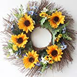 Country Sunflower Twiggy Wreath Indoor Front Wreath House Warming Gift Summer Wreath