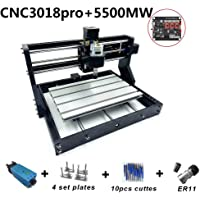 Changli Upgrade CNC 3018 Pro GRBL Control DIY CNC Machine, 3 Axis PCB PVC Milling Engraving Machine,Wood Router Engraving XYZ Working Area 300x180x45mm with 5500mw Las*r and Extension Rod