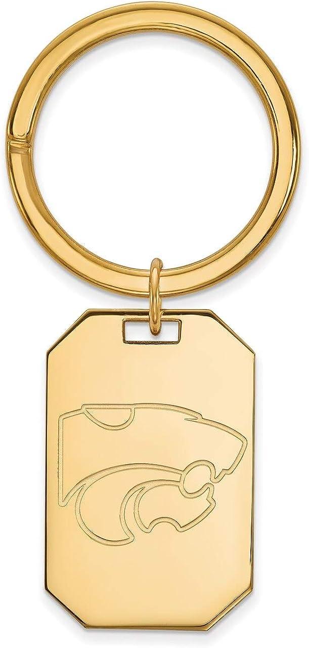 Lex /& Lu LogoArt Sterling Silver w//GP Kansas State University Key Chain