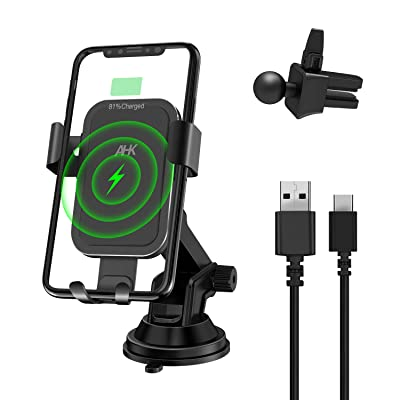 AHK Wireless Charger Car Mount, Fast 10W Qi Gravity Windshield Dashboard Air Vent Phone Holder for iPhone Xs/Max/X/XR/8/8 Plus Samsung Galaxy Note 9/ S9/ S9+/ S8/S8+/S7/S6 Edge (Black)