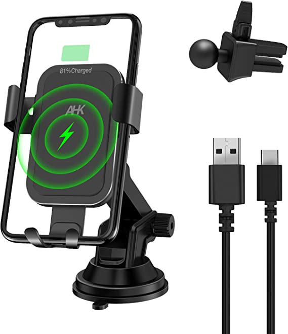 10W Qi Fast Wireless Charging Wireless Charger Car Cup Phone Holder, One Hand Operation Car Mount Compatible for Samsung Galaxy S10//S10+ S9//S8 Note 9 and iPhone X//XR//XS Max and Qi-Enabled Phones