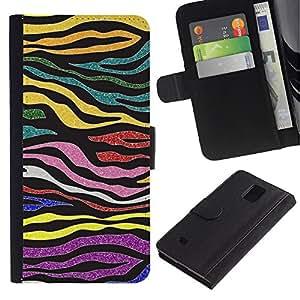LASTONE PHONE CASE / Lujo Billetera de Cuero Caso del tirón Titular de la tarjeta Flip Carcasa Funda para Samsung Galaxy Note 4 SM-N910 / Stripes Glitter Gold Purple Pattern
