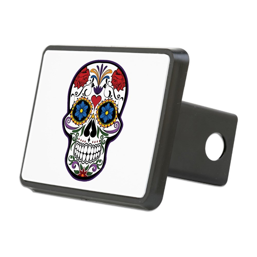 Rectangular Hitch Cover Floral Sugar Skull Day of the Dead