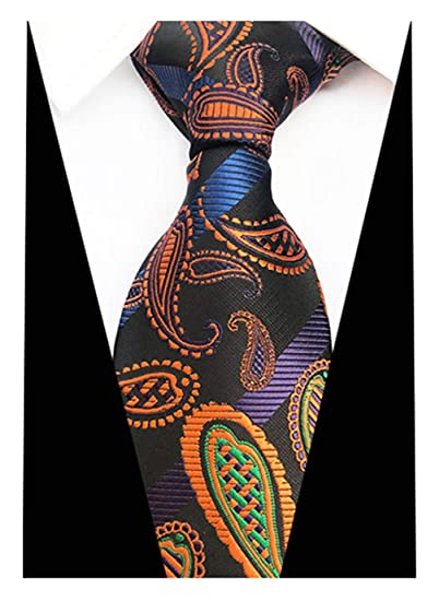 3aa3209c08dc L04BABY Classic Gold Black Paisley Floral Tie Woven Silk Men Ties Formal  Necktie at Amazon Men's Clothing store: