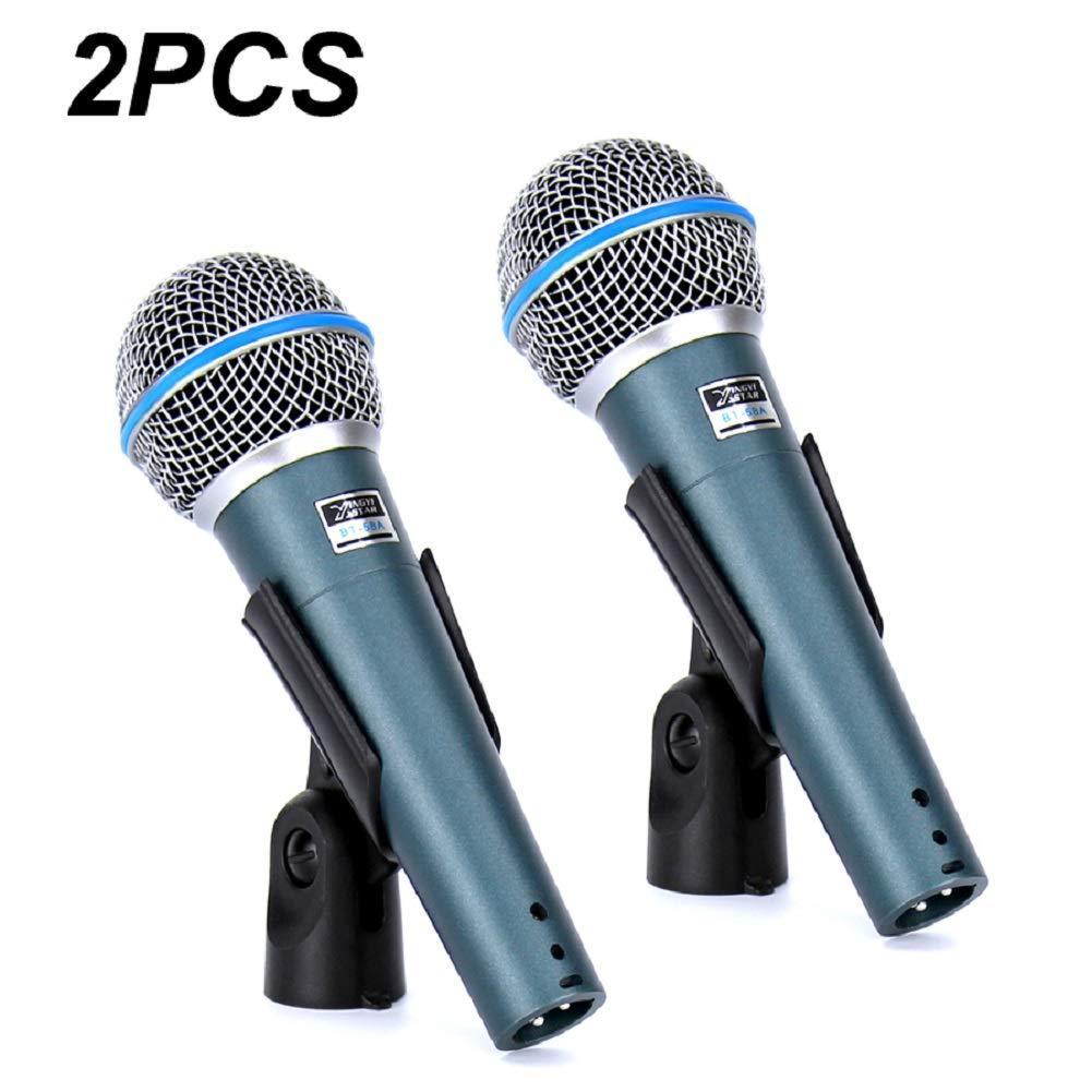 DDSHYNH 2 UNIDS BT 58A Profesional Etapa Cantante Vocal Micr/ófono Micr/ófono Din/ámico para Grabaci/ón de Video BETA58A Beta 58 Sistema de Karaoke KTV