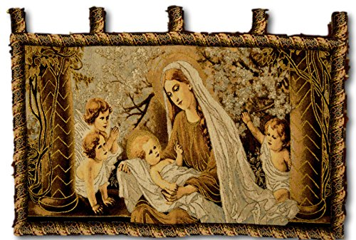 Tache Home Fashion Christ Among The Blossom Mary & Child Jesus Woven Tapestry Mothers Day Wall Hanging Art 28
