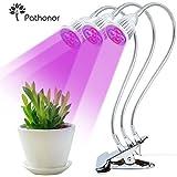 Dreifacher Kopf Pflanzenlampe, Pathonor 15W Pflanzenlicht Wachsen licht Pflanzenleuchte Wachstumslampe mit 360 Grad einstellbar Flexible für Büro Haus Garten Aquatische Pflanzen Blumen Veg Sämling