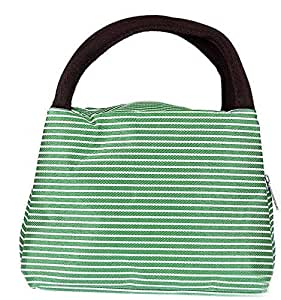 Green striped foldable thermal waterproof lunch tote bag with zipper and handles