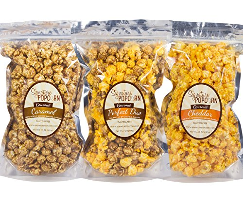 Signature Popcorn Gourmet Popcorn Resealable Bags Variety 3-Pack (Caramel, Perfect Duo, and Cheddar)