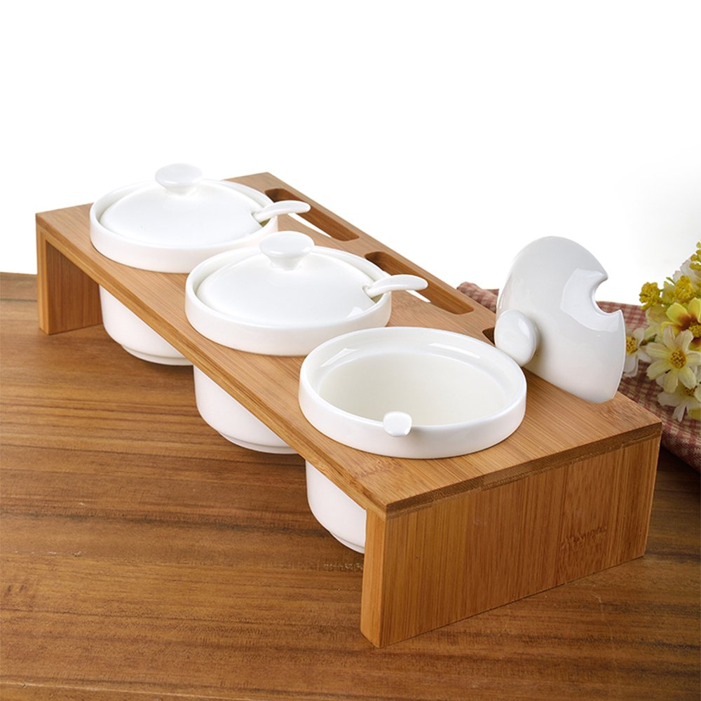 QCLTY Set of 3 Ceramic Condiment Pots Spice Serving Jars Seasoning container with Serving Spoons /& Bamboo Stand Tenyear