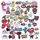 50pcs Assorted Size Cool Embroidered Iron-on Patches for Clothing, Shoes, Bags, Vests, Hats, Backpack, DIY Sewing Accessories Fabric Badge Stickers(Sewing Tool Set Needles Stitching Punch Pen)