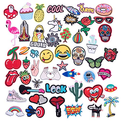 50pcs Assorted Size Cool Embroidered Iron-on Patches for Clothing, Shoes, Bags, Vests, Hats, Backpack, DIY Sewing Accessories Fabric Badge Stickers(Sewing Tool Set Needles Stitching Punch Pen) by QILICHZ
