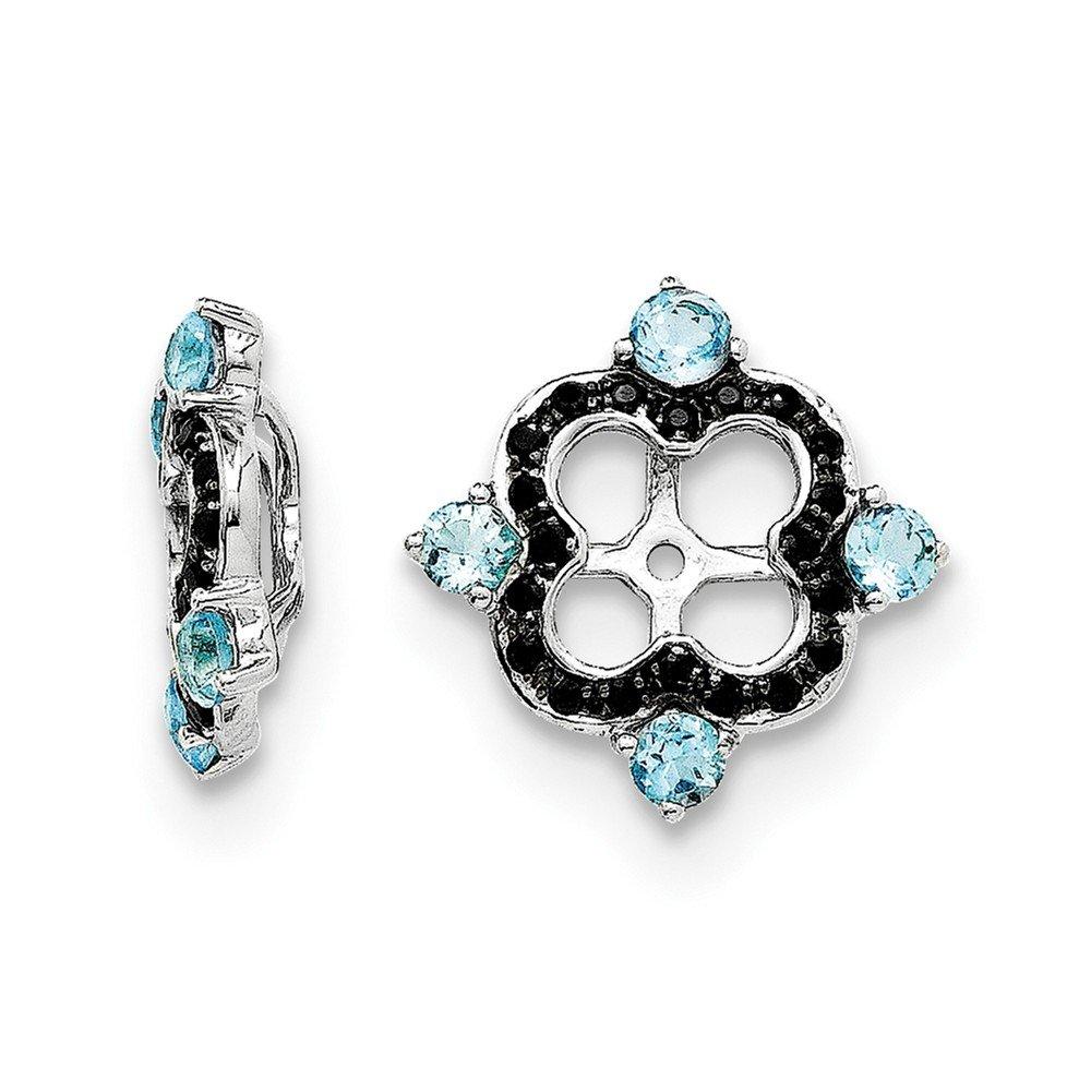 Sterling Silver Rhodium Swiss Blue Topaz & Black Sapphire Earring Jacket