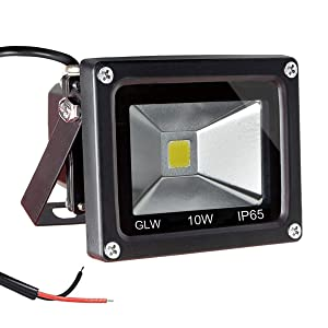 GLW 12V-24V AC or DC LED Flood Light,10W Mini IP65 Waterproof Outdoor Light,900LM,6000K,Daylight White Security Light,80W Halogen Bulb Equivalent