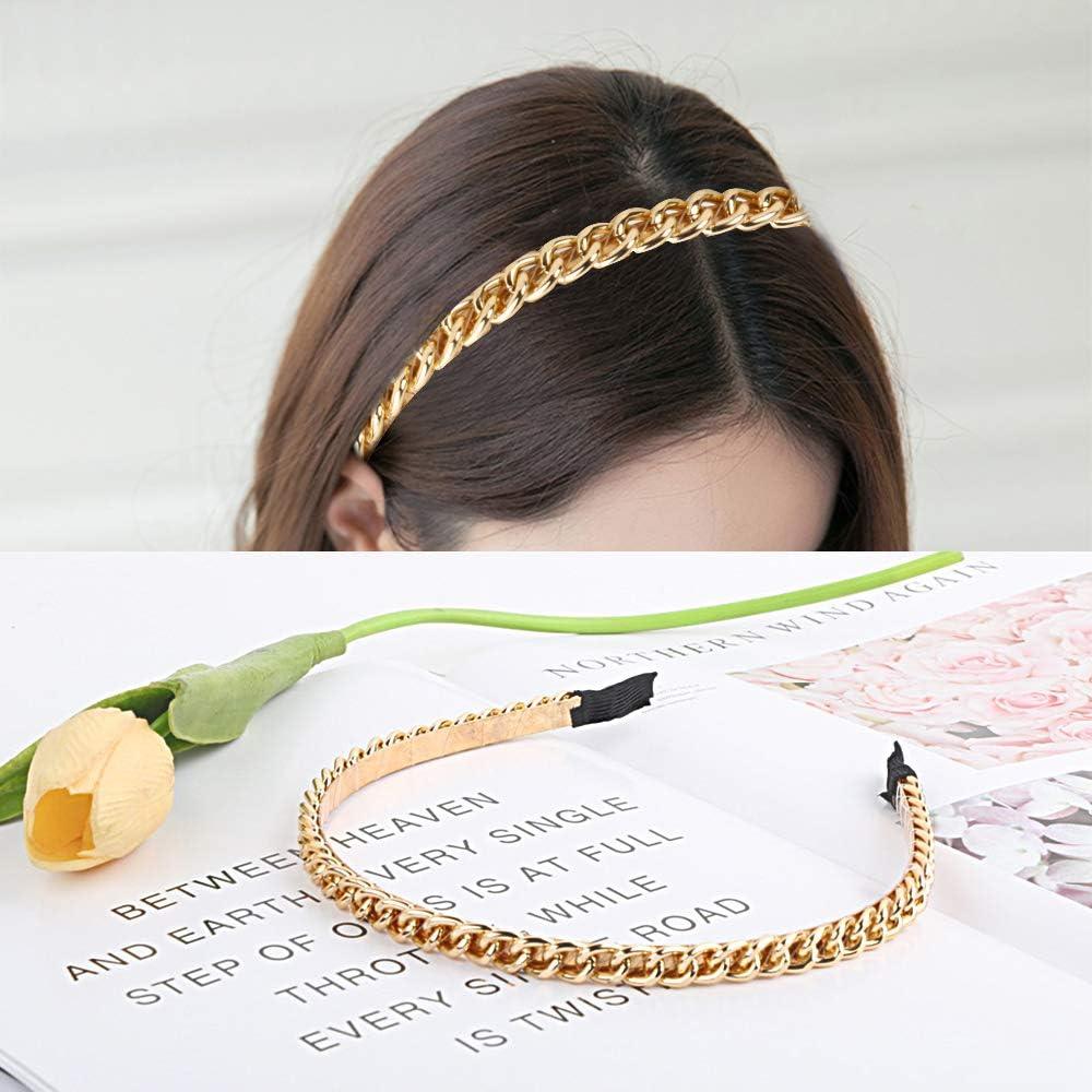 3 Estilos Diferentes FLOFIA 3pcs Diademas Metales Mujer Finas de Moda de Cadena Metal Hair Bands Diademas Pelo Mujer Finas Met/álicas Accesorios para Cabello de Mujer Chica