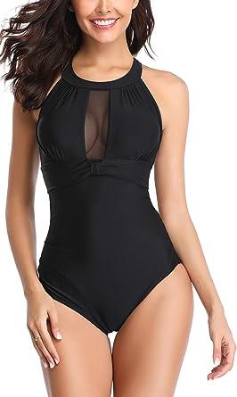 c665938d8fa98 Eomenie Womens One Piece Swimsuits Tummy Control Swimwear Flattering High  Waisted Monokini Mesh Plus Size Bathing