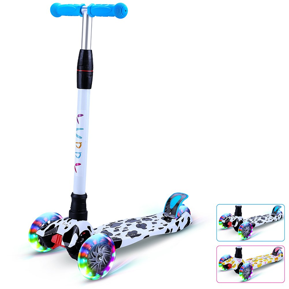 Yuppy Kick Scooter For Kids 3 Wheel Lean To Turn Adjustable Height PU ABEC-7 Light Up Wheels For 3-10 Year Old Milk