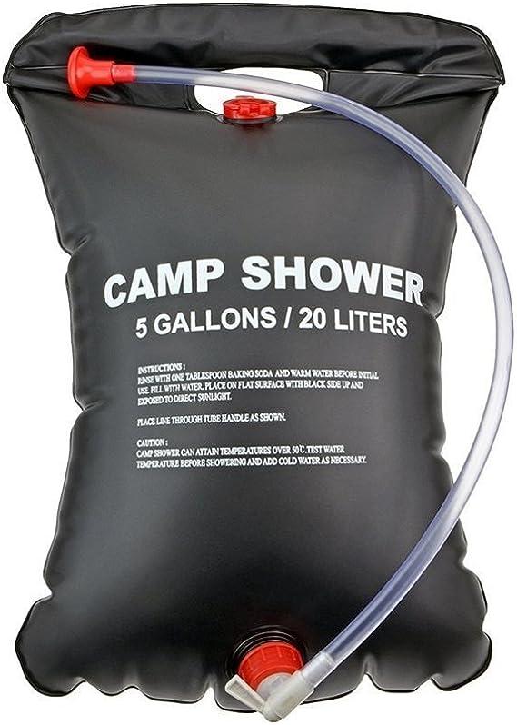 Douche ext/érieure portative 5 gallons Douche Solaire Sac deau Camping Douche 20L avec thermom/ètre