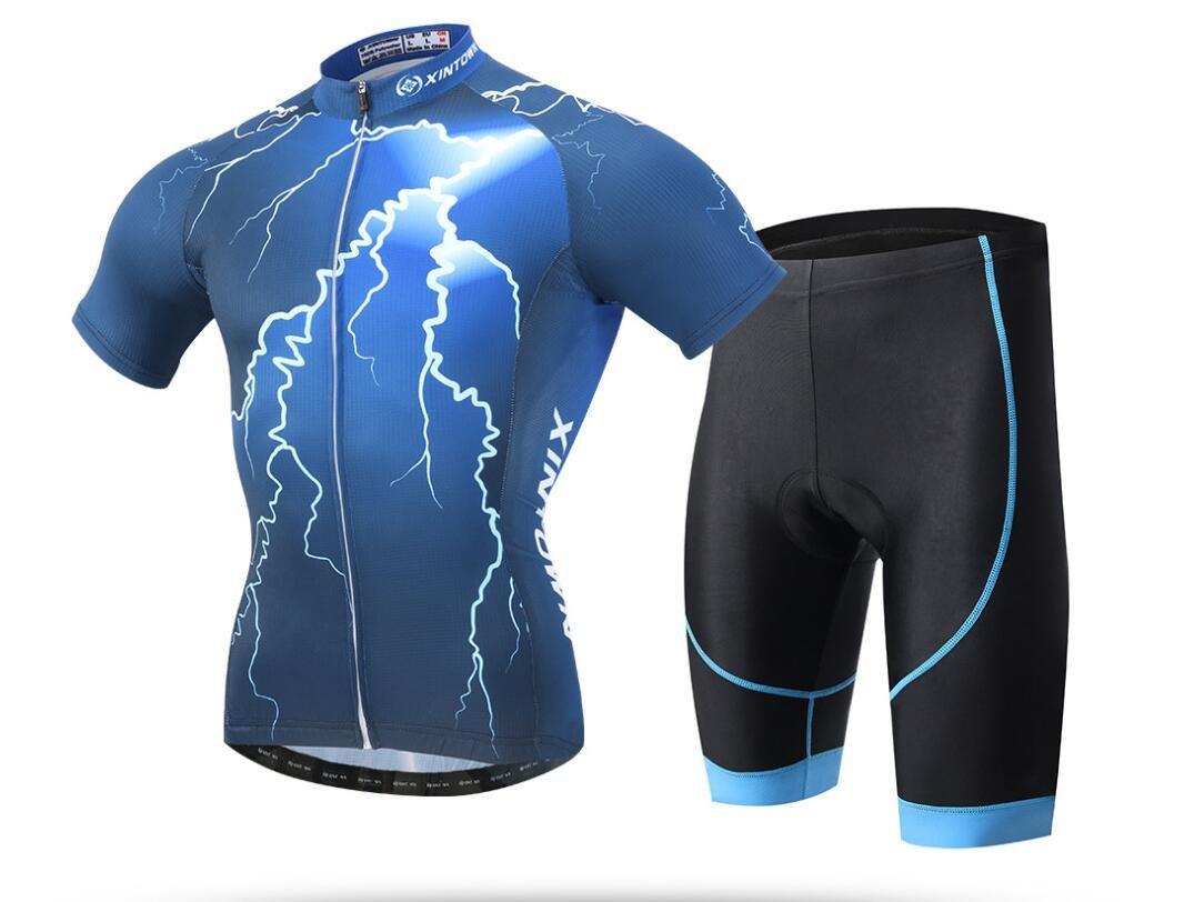 DUBAOBAO Xintownmen Boy Kurzärmelrad-Set Road Fahrrad Outdoor-Sportbekleidung Kurzärmeliges Reitset + Bib Shorts mit 3D Fill (Blau)