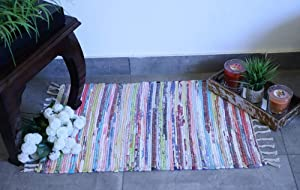 Fernish Décor Cotton Multi Chindi Rug, Hand Woven Reversible, 20X32 inches, Colorful Rug, Pack of Two