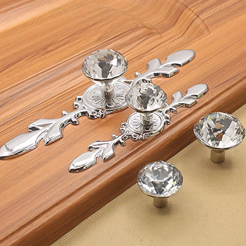 Zhi Jin 4Pcs European Diamond Cabinet Knobs with Backplates Crystal Drawer Knob Pulls Furniture Décor Overall Length-118mm/4.6Inch by ZHI JIN (Image #3)