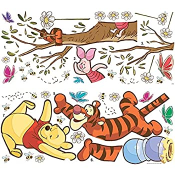 Roommates rmk1501gc pooh and friends peel for Baby pooh and friends wall mural
