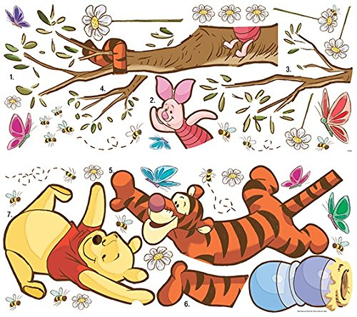 Roommates Rmk2463Gm Winnie The Pooh Swinging For Honey Peel And Stick Giant Wall Decals, 1-Pack - Pooh Wall
