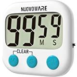 Nuovoware Digital Kitchen Timer, Digital Loud Alarm Timer with Large LCD Display and Strong Magnetic Back for Cooking Baking, Minute Second Count Up and Countdown, White