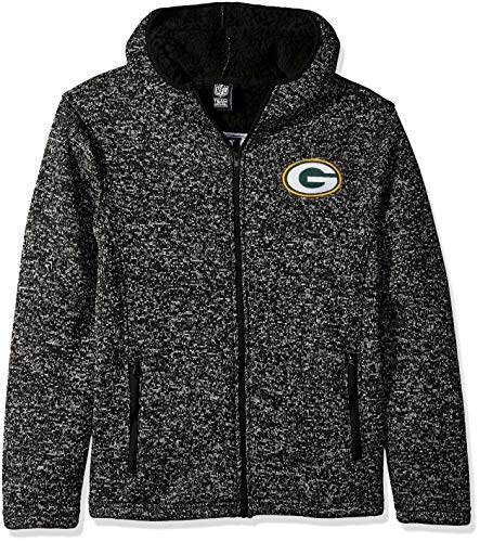Icer Brands NFL Green Bay Packers Men's Sherpa Full Zip Cozy Fleece Hoodie Sweatshirt, X-Large, Black