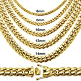 Premium Stainless Steel Heavy Miami Cuban Chain Necklace or Bracelet. Colors: Gold or Platinum