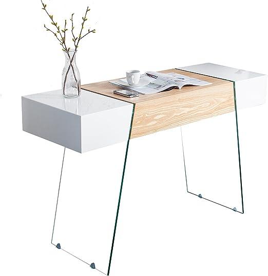 DuNord Design Escritorio Roble Blanco Brillante Cristal Oficina ...