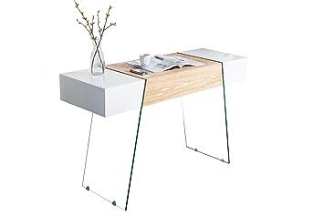 DuNord Design Schreibtisch weiß hochglanz Eiche Glas ...