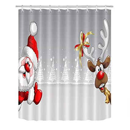 LB Christmas Shower Curtain Set Santa Claus Elk Bathroom Decoration With Hooks 60x72 Inch Polyester