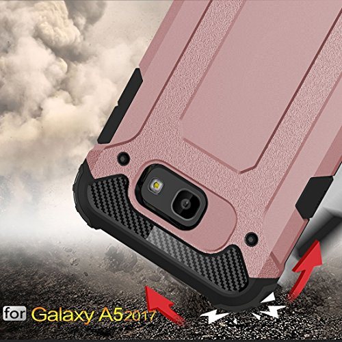 Caja resistente de la armadura TPU + PC de la armadura para la galaxia A5 (2017) / A520 de Samsung by diebelleu ( Color : Rose gold ) Rose gold