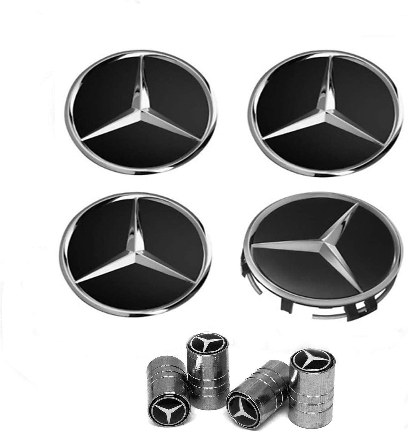 IGGY Lot de 4 Cache-moyeux Noirs avec Logo Compatible avec Jantes en Alliage Classe A B C E CLK GL M ML SLK 75 mm