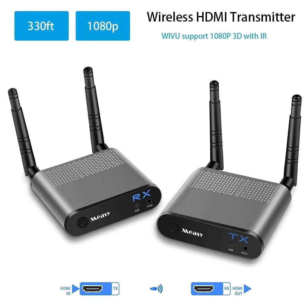 MEASY AIR PRO 2.4G / 5.8GHz Wifi HDMIケーブルトランスミッタレシーバ、IRリモートコントロール付き最大330フィート/ 100m B07GST1YD9