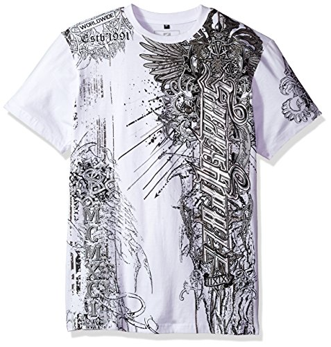 Wing Print Tee - Southpole Men's Short Sleeve HD, Foil, Flock Print All Over Graphic Tee, White/Foil Wing, Medium